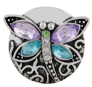 Silver Purple Blue Rhinestone Dragonfly 20mm Snap Charm Jewelry For Ginger Snaps