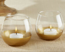 12 Gold Dipped Glass Votive Candle Holders Bridal Shower Wedding Favors