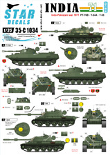 Star Decals 1:35 India 1971 Indo-Pakistani War PT-76B, T-54A, T-55 #35C1034