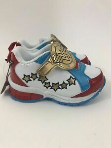 Wonder Woman Toddler Athletic Shoes Size 7 Glitter Light Up Self Adhesive