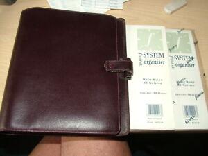Genuine Filofax, System Organiser. Burgandy, A5 Inserts. Circa 1980's