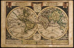 1749 - Globus Terrestris - antique map/Mappemonde. Per Schreiber