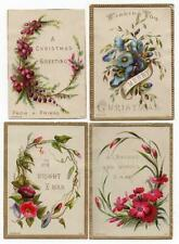 4 Victorian 1880s Xmas Cards Nos 3,4,7 & 8 in same set No 52. Embossed Flowers.