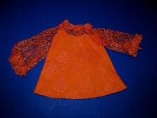 Vintage 1969 Ideal Crissy Orange Lace Dress Crisp and MINT!