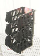VEGETABLE FRUIT STORAGE KITCHEN STACKING STACKABLE BASKET RACK - 3 Tiers Black