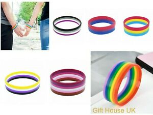 LGBT Rainbow Pride Silicone Bracelets Wrist band Freedom Trans Bisexual Lesbian