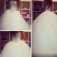 Luxury crystal diamond decoration Tulle Wedding Dress Ball Gown custom size 2-18