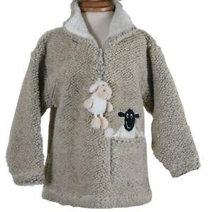 Children's Dangly Sheep Zip Neck Fleece With Keyring - Pebble