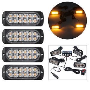 4PCS 12LED Car vehicle Strobe Flash Light Emergency Warning Recovery Lamp