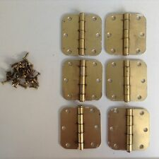 "(6) Penrod Round Corner 3.5"" x 3.5"" Satin Brass Residential Door Hinges"