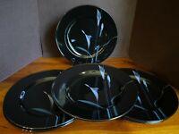 "Mikasa Galleria Opus Black Calla Lilly FK701 8 1/4"" Salad Plates (LOT of 6)"