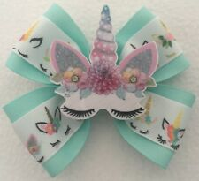 Unicorn Bow unicorn cheer bow mint cheer bow unique uni-bow