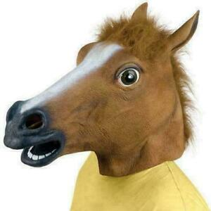 New RUBBER HORSE HEAD MASK PANTO FANCY PARTY COSPLAY HALLOWEEN ADULT COSTUME