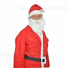 10 x Father Christmas Felt Adults Santa Suit Fancy Dress Costume Set One Size
