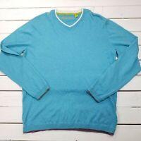 Robert Graham V-Neck Pull Over Sweater Mens XL Blue Silk Blend Lightweight SW39
