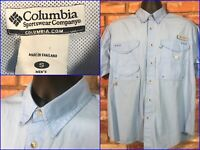 Columbia PFG Blue S/S Btn Front Fishing Boating Shirt Mens Small Back Vent