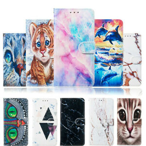 For Moto G7 Plus Sony XA3 Ultra Marble Animal Parttern Wallet Phone Case Cover