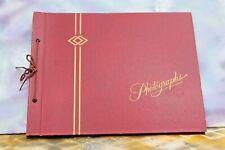 "VTG Red PHOTOGRAPHS Scrapbooking Album, 20 pages Tie Bound expandable, 11"" x 12"""