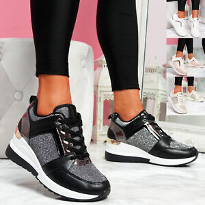 WOMENS LADIES WEDGE TRAINERS SNEAKERS LACE UP SNAKE GLITTER WOMEN SHOES SIZE