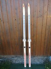"""Great Old 74"""" Wooden Skis With Original White Red and Blue Finish and Bindings"""