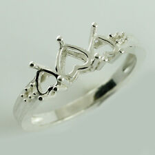 Semi Mount Heart Shape Lovely Ring 5 MM 925 Silver Wedding Anniversary Jewelry