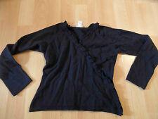 CYRILLUS schöner Pullover Wickeloptik m. Rüschen schwarz Gr. 128 TOP BI616