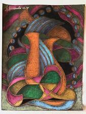 Superbe grand pastel Abstraction signé R Revaute Abstrait octobre 1981