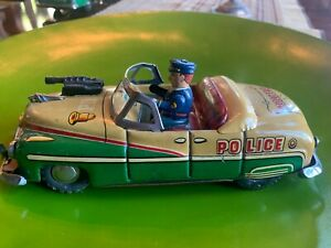 """1950's Japanese Tin Police Dept. Car;  8.5"""", in Very Good Condition"""