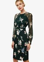 Phase Eight Abrianna Floral Print Shift Knee Length Dress Forest Size UK8 RRP135