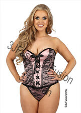 Ladies Sexy Pink/Black Basque and Thong Set Womens Corset Lingerie Underwear DQ