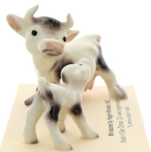 Hagen-Renaker Miniature Ceramic Cow Figurine Spotted Mama and Baby Calf Set