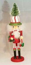 "Christmas Tree Soldier Nutcracker Red White 18"" Wood Kurt Adler Hollywood"