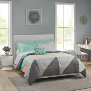Mainstays Grey & Teal 8 pc Bed in a Bag Bedding Set with Sheet Set, Full,TWIN,Qu