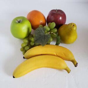 7 PC Fake Artificial Fruit VERY REALISTIC Apple Orange Banana Pear Grapes DENSE