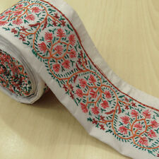 Vintage Indian Embroidered White Border Antique Used Sari Sewing Wrap 1YD Ribbon