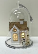 NEW Pottery Barn Lit House Scene In Glass Cloche Christmas Tree Ornament