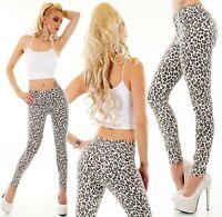 High Waist Jeans Hose hoher Bund Röhrenjeans Skinny Stretch weiß Leopard XS-XL