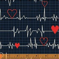 Heart Beat Nurse Doctor Medical EKG Cotton Fabric Windham Calling Nurses Yard