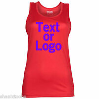 Red Ladies Womens Training Gym Sports Vest Racer Back Personalised