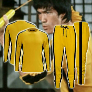 New Adult Bruce Lee Game of Death Jumpsuit Kung Fu Cosplay Costume Sportswear