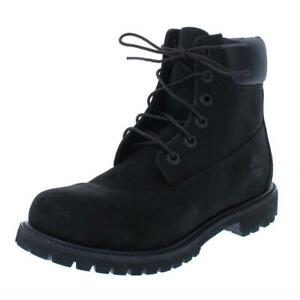 Timberland Womens Black Leather Ankle Boots Shoes 11 Wide (C,D,W) BHFO 0821