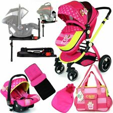 iSafe 3 in 1 Baby Pram Pram Travel System Mea Lux Design Pink