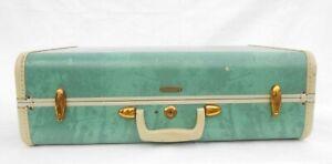 Vintage Samsonite Shwayder Brothers Denver Colorado Suitcase Bermuda Green