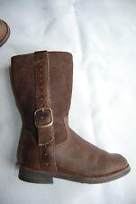 Dark Brown Suede & Leather Side Zip CLARKS Boots w/Strap & Buckle Toddler 7.5 W