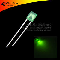 100pcs 2x3x4mm Square LED Diodes Diffused Green-Green Rectangle Rectangular