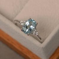 2.15 Ct Oval Cut Aquamarine Diamond Engagement Ring 14K White Gold Size M N O P