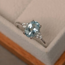 2.15 Ct Oval Cut Aquamarine Diamond Engagement Ring 14K White Gold Size M N O P
