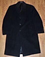 London Fog Men's Black Wool Overcoat Trench Long Coat 44 R