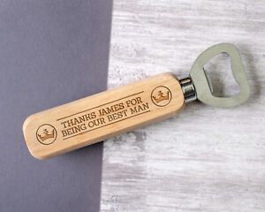 Personalised Engraved Wooden Bottle Opener Best Man Any Name Text Custom for Him