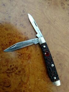 "VINTAGE 1945-1983 BOKER USA  JACK KNIFE 2.78"" FAUX JIGGED BONE SCALES JACK KNIFE"